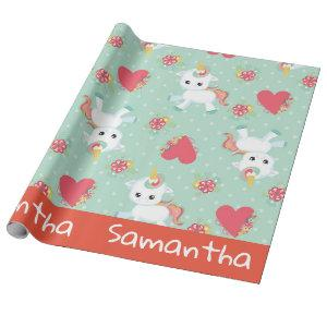 Unicorn Mint Green Red Hearts Colorful Personalize Wrapping Paper