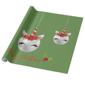Unicorn Ornament Pretty  Holiday Christmas Wrapping Paper