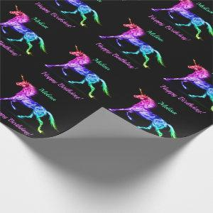 Unicorn Personalize Name Happy Birthday Gift Wrapping Paper