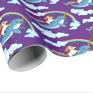 Unicorn Riding Narwhal Wrapping Paper