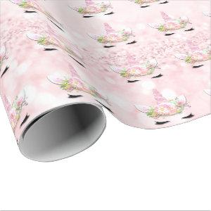 Unicorn Sparkl Glitter Pink Floral Pastel Girly Wrapping Paper
