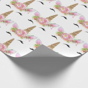 Unicorn Sparkl Glitter Pink Gold Floral Rose White Wrapping Paper