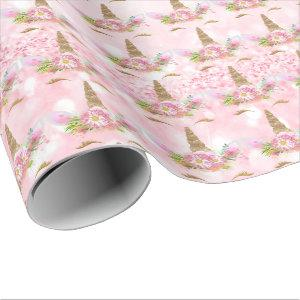 Unicorn Sparkl Glitter Pink Rose Lashe Gold Floral Wrapping Paper