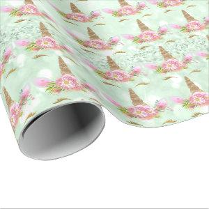 Unicorn Sparkl Glitter Pink Rose MInt Gold Floral Wrapping Paper