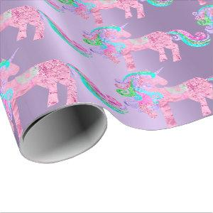 Unicorn Sparkly Glitter Pink Fairly Rainbow Wrapping Paper