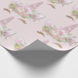 Unicorn Sparkly Glitter Pink Gold Floral Pastel Wrapping Paper