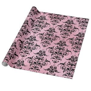 Unique Black Damask on Pink Wrapping Paper