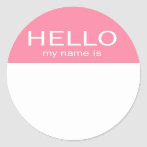 Unique Hello My Name Is - Baby Pink Classic Round Sticker