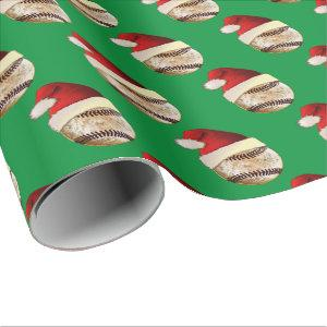 Unique Vintage Christmas Baseball Wrapping Paper