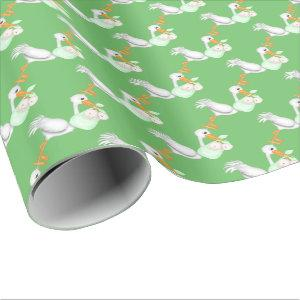 Unisex twin babies with stork wrapping paper