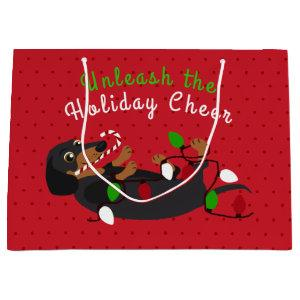 Unleash the Holiday Cheer Cute Dachshund Christmas Large Gift Bag