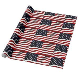 USA flag fluttering waves patriotic american Wrapping Paper