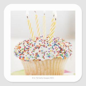 USA, New Jersey, Jersey City, Cupcake with Square Sticker