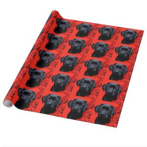 Valentine Puppy Roses - Labrador - Black Lab Wrapping Paper