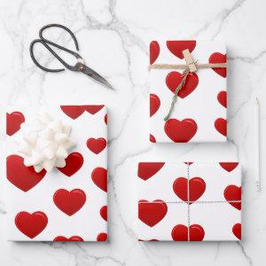 valentine red hearts wrapping paper sheets