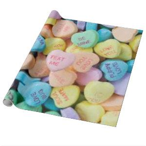 Valentine's candy conversation hearts wrapping paper