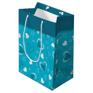 Valentine's Day Blue Hearts Medium Gift Bag