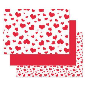 Valentine's Day Hearts Random Pattern red/White Wrapping Paper Sheets