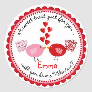 Valentines Day Kissing Birds Stickers