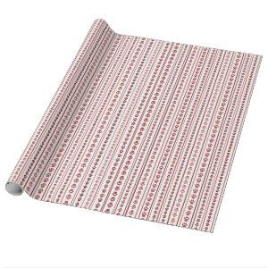 Valentine's Day Paw Print Stripe Wrapping Paper