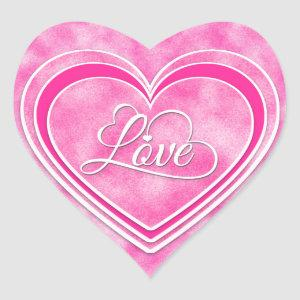 Valentine's Day - Pretty Pink Hearts Love WA Heart Sticker