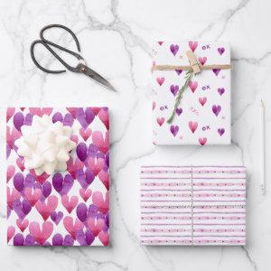 Valentine's Day watercolor heart patterned Wrapping Paper Sheets