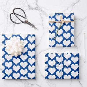 Valentines Hearts Blue Wrapping Paper Sheets