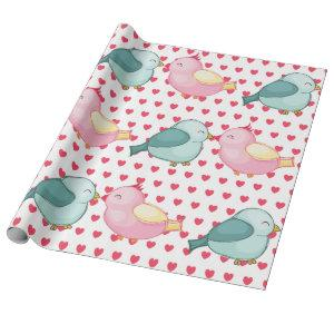 Valentines Red Heart on White with Cute Love Birds Wrapping Paper