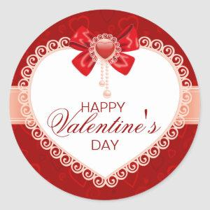 Valentines Round Sticker with Red Bow & Lace