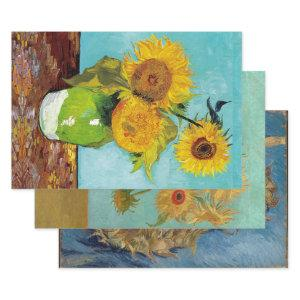 VAN GOGH SUNFLOWERS HEAVY WEIGHT DECOUPAGE WRAPPING PAPER SHEETS