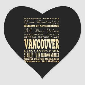 Vancouver City of Canada Typography Art Heart Sticker