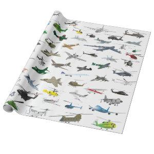 Various Colorful Airplanes and Helicopters Wrapping Paper