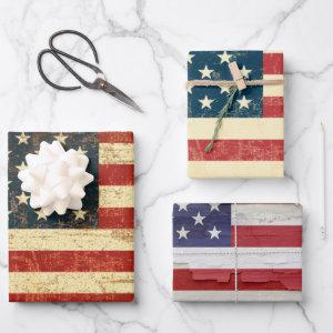 Various Grungy American Flag of the USA  Sheets
