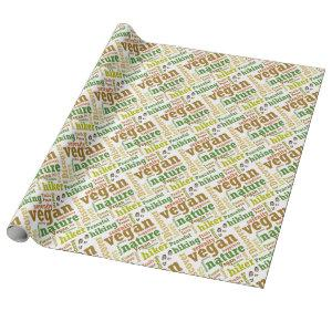 Vegan Hiker Hiking Word Cloud Wrapping Paper