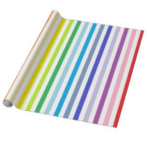 Vertical Broader Spectrum Rainbow and White Stripe Wrapping Paper