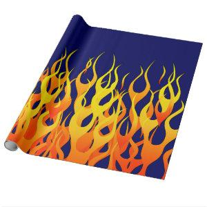 Vibrant Classic Racing Flames on Navy Blue Wrapping Paper