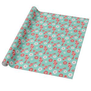 Vibrant red koi fish swimming on mint pattern wrapping paper