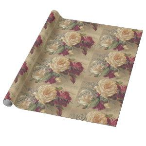 Victorian Christmas Rose Wrapping Paper