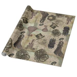 Victorian Steampunk Vintage Decoupage Grunge Gears Wrapping Paper