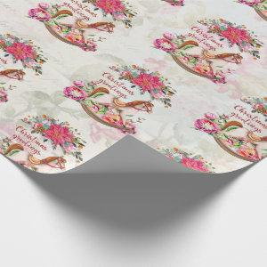 Victorian Vintage Rocking Horse Christmas Pattern Wrapping Paper
