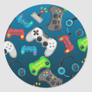 Video Game Controllers Gamer Birthday Party Favor Classic Round Sticker