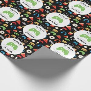 Video Game Party Level Up Kids Birthday Gamer Wrapping Paper