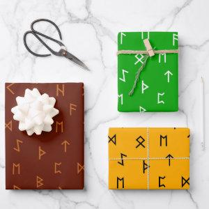 Viking Runes on Brown, Yellow, Green Background  Sheets