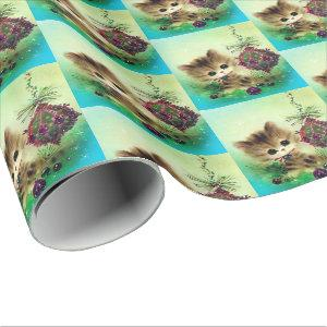 Vinage retro Christmas cat Holiday party wrap Wrapping Paper