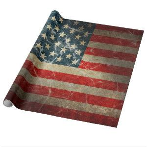 Vintage American Flag Distressed Wrapping Paper