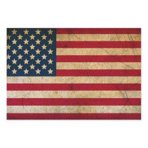 Vintage American Flag Wrapping Paper Sheets