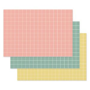 Vintage Baby Pink Blue and Yellow With White Check Wrapping Paper Sheets