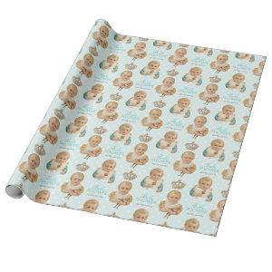Vintage Baby Shower Boy Crown Blue Personalized Wrapping Paper