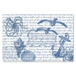 Vintage Beach Sea Blue and White Tissue Paper