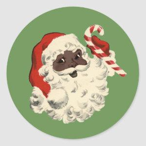 Vintage Black Santa with Candy Cane Classic Round Sticker